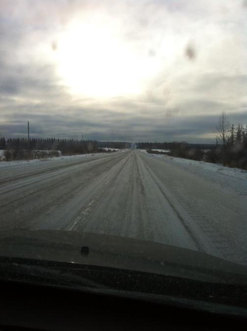 "These are the road conditions described as ""Bare, clear and dry"". Good thing we watch Ice Road Truckers!"